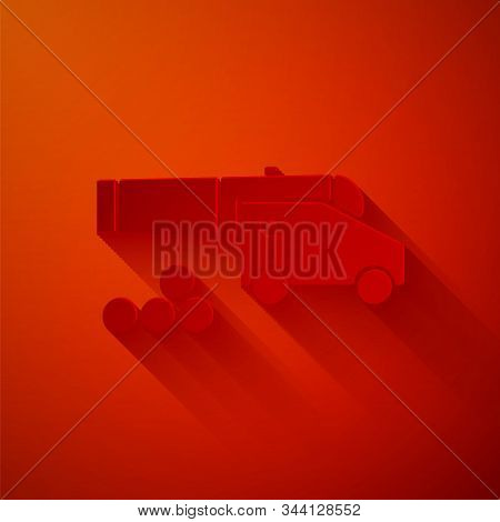 Paper Cut Cannon With Cannonballs Icon Isolated On Red Background. Medieval Weapons. Paper Art Style