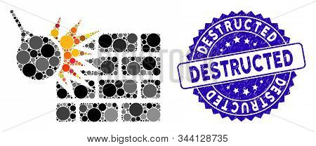 Mosaic Brick Wall Destruction Icon And Corroded Stamp Seal With Destructed Text. Mosaic Vector Is De