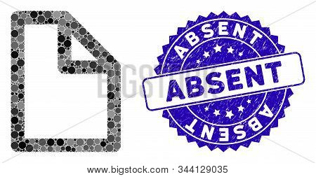 Mosaic Document Page Icon And Rubber Stamp Seal With Absent Caption. Mosaic Vector Is Designed With