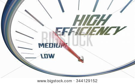High Efficiency Increase Efficient Level Rating Speedometer 3d Illustration