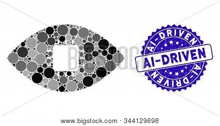 Mosaic Chip Eye Retina Icon And Corroded Stamp Watermark With Ai-driven Caption. Mosaic Vector Is Cr