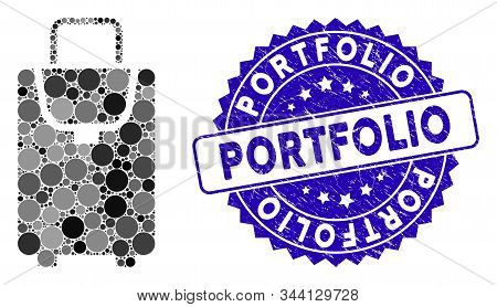 Mosaic Carryon Bag Icon And Grunge Stamp Watermark With Portfolio Caption. Mosaic Vector Is Composed