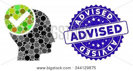 Mosaic Advised Icon And Grunge Stamp Seal With Advised Phrase. Mosaic Vector Is Designed With Advise
