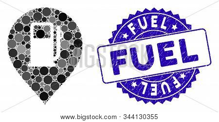 Mosaic Fuel Station Marker Icon And Distressed Stamp Seal With Fuel Text. Mosaic Vector Is Designed