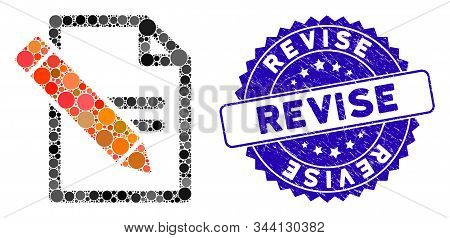 Collage Edit Records Icon And Grunge Stamp Seal With Revise Text. Mosaic Vector Is Designed From Edi