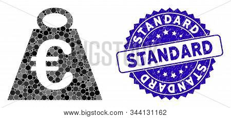 Mosaic Euro Weight Standard Icon And Grunge Stamp Seal With Standard Text. Mosaic Vector Is Created