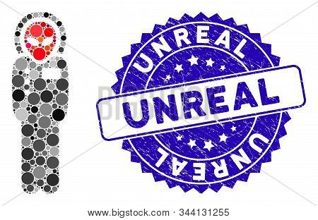 Mosaic Alien Visitor Space Suit Icon And Rubber Stamp Seal With Unreal Phrase. Mosaic Vector Is Form