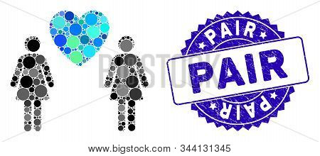 Collage Lesbi Love Pair Icon And Grunge Stamp Seal With Pair Caption. Mosaic Vector Is Created With
