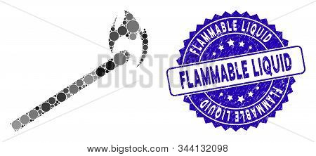Mosaic Match Icon And Grunge Stamp Seal With Flammable Liquid Text. Mosaic Vector Is Created From Ma