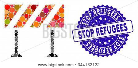 Mosaic Barrier Icon And Grunge Stamp Seal With Stop Refugees Caption. Mosaic Vector Is Formed From B