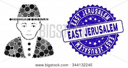 Mosaic Jew Icon And Rubber Stamp Watermark With East Jerusalem Caption. Mosaic Vector Is Created Wit
