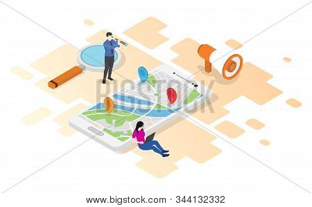 Discover New Place Man And Woman With Digital Maps And Marker Searching With Isometric Style Illustr