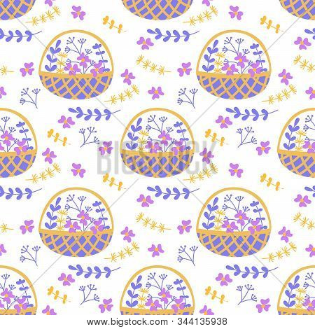 Vector Seamless Pattern With Doodles Of Flowers And Plants In Wicker Baskets. Flat Drawing Style. Pu