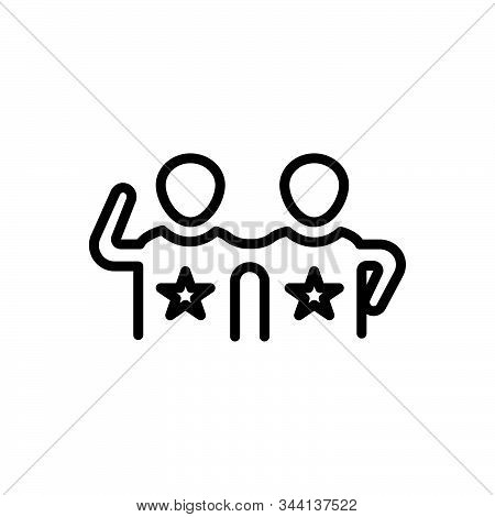 Black Line Icon For Friends Buddy Dost Mate Pal Chum