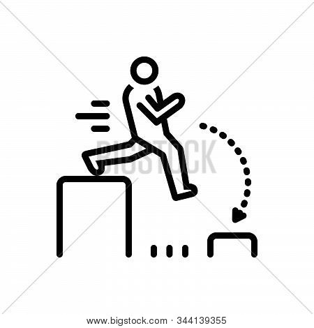 Black Line Icon For Challenging Outdare Challenge Jump Person