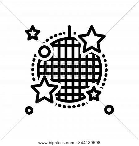 Black Line Icon For Cabaret Stage Nightclub Sparkling Disco-ball