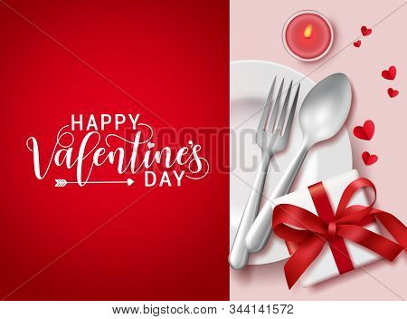Happy Valentines Day Greeting Card In Red Background Vector Template. Valentines Romantic Dating Ele