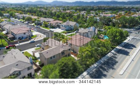 Aerial View of Populated Neigborhood Of Houses With Tilt-Shift Blur.