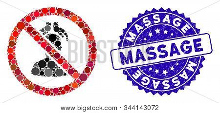 Mosaic No Head Massage Icon And Corroded Stamp Seal With Massage Text. Mosaic Vector Is Formed With