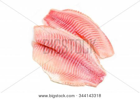 Fresh Fish Fillet Sliced For Steak Or Salad / Raw Tilapia Fillet Fish Isolated On White Background F