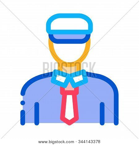 Ship Captain Icon Vector. Outline Ship Captain Sign. Isolated Contour Symbol Illustration