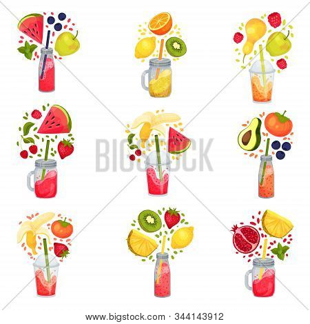 Fresh Smoothies In Jars With Straw Sticked Out From It And Floating Around Ingredients Vector Set