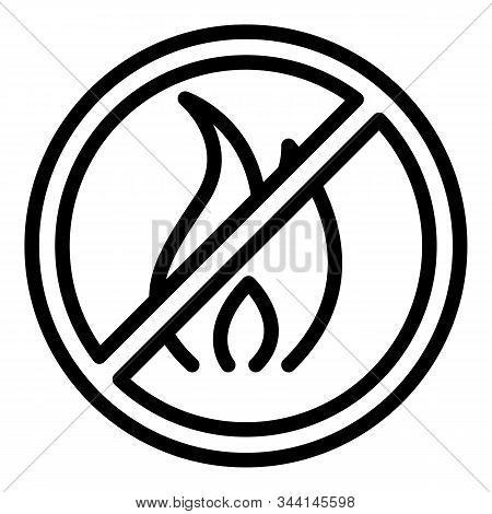 Restricted Campfire Icon. Outline Restricted Campfire Vector Icon For Web Design Isolated On White B