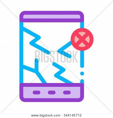 Wrecked Tablet Icon Vector. Outline Wrecked Tablet Sign. Isolated Contour Symbol Illustration