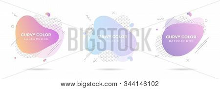 3 Modern Liquid Abstract Element Graphic Gradient Flat Style Design Fluid Pastel Colors Vector Illus