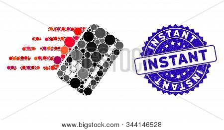 Collage Fast Banking Card Icon And Corroded Stamp Seal With Instant Phrase. Mosaic Vector Is Designe