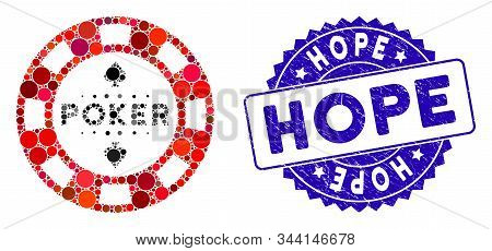 Mosaic Poker Casino Chip Icon And Grunge Stamp Seal With Hope Caption. Mosaic Vector Is Composed Wit