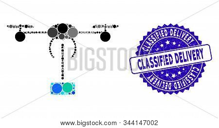 Collage Copter Shipment Icon And Grunge Stamp Seal With Classified Delivery Phrase. Mosaic Vector Is