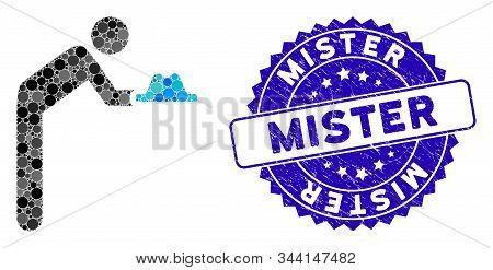 Mosaic Concierge With Hat Icon And Grunge Stamp Watermark With Mister Text. Mosaic Vector Is Designe