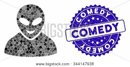 Mosaic Glad Alien Person Icon And Rubber Stamp Watermark With Comedy Phrase. Mosaic Vector Is Compos