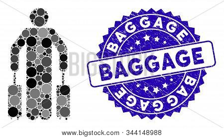 Mosaic Passenger Baggage Icon And Rubber Stamp Watermark With Baggage Text. Mosaic Vector Is Created