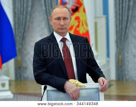Moscow,russia,october 2019,russian President Vladimir Putin In Russian Federation