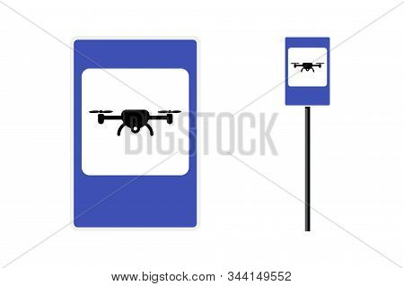 Drone Zone Blue Rectangular Roadsign For Quad Copter City Transport. Vector Unmanned Flight Aerial V