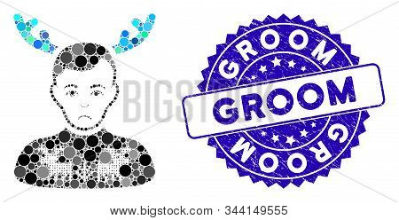Mosaic Deers Pullover Horned Husband Icon And Distressed Stamp Seal With Groom Phrase. Mosaic Vector