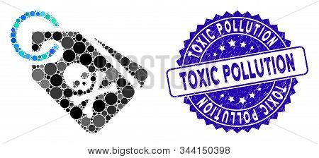 Collage Death Tags Icon And Rubber Stamp Seal With Toxic Pollution Phrase. Mosaic Vector Is Formed W