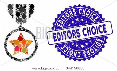 Mosaic Army Medal Icon And Corroded Stamp Seal With Editors Choice Text. Mosaic Vector Is Designed W