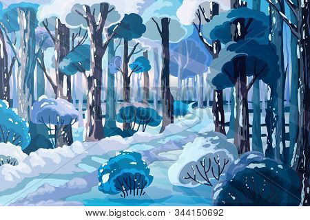 Winter Forest Landscape With Beautiful Snowy Trees And Country Road. Holiday Scenery Background With