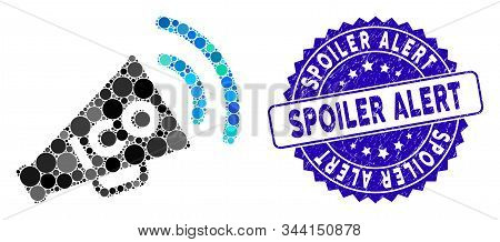 Mosaic Ico News Megaphone Icon And Rubber Stamp Watermark With Spoiler Alert Phrase. Mosaic Vector I