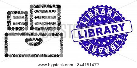 Mosaic Library Catalog Icon And Rubber Stamp Watermark With Library Caption. Mosaic Vector Is Formed
