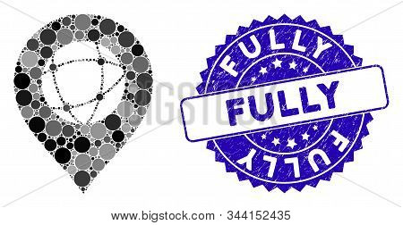 Mosaic Sphere Marker Icon And Grunge Stamp Seal With Fully Text. Mosaic Vector Is Formed With Sphere