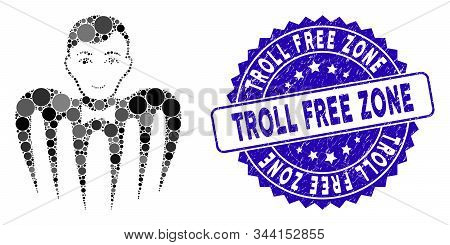 Collage Croupier Spectre Monster Icon And Rubber Stamp Seal With Troll Free Zone Text. Mosaic Vector