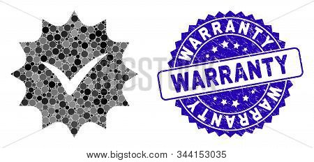 Mosaic Warranty Tag Icon And Grunge Stamp Seal With Warranty Caption. Mosaic Vector Is Created With