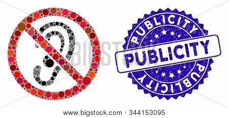 Mosaic No Listen Icon And Corroded Stamp Seal With Publicity Caption. Mosaic Vector Is Created With