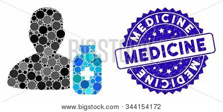 Collage Pharmacist Medicine Icon And Rubber Stamp Seal With Medicine Phrase. Mosaic Vector Is Formed