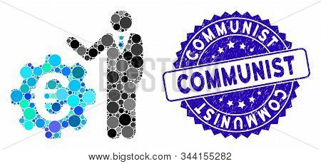 Mosaic Euro Businessman Icon And Corroded Stamp Seal With Communist Caption. Mosaic Vector Is Compos
