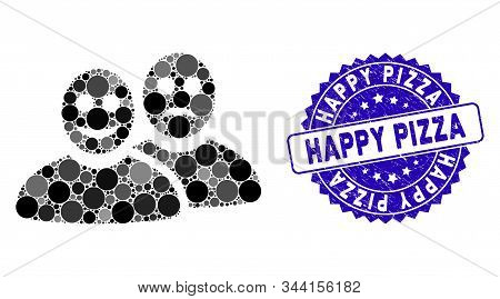 Mosaic Glad And Sad People Icon And Grunge Stamp Seal With Happy Pizza Phrase. Mosaic Vector Is Crea